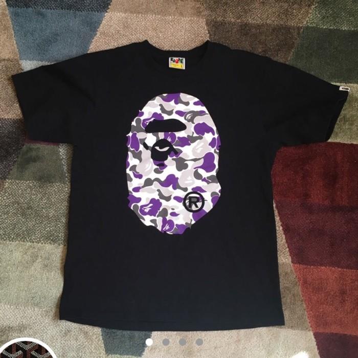 5b11bf48 Bape Bape Purple Camo Tee • Bathing Ape New York Big Logo Shirt Size ...