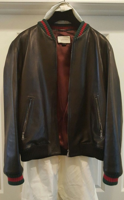 65afbf0263cb4 Gucci Black Leather Bomber Jacket With Red Green Trim Size m ...