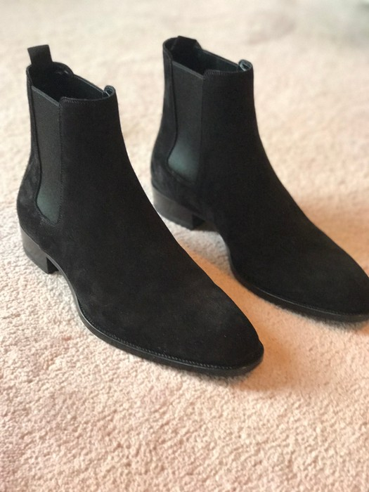 07a58453d4a7b Saint Laurent Paris Classic Wyatt 30 Chelsea Boot In Black Suede ...