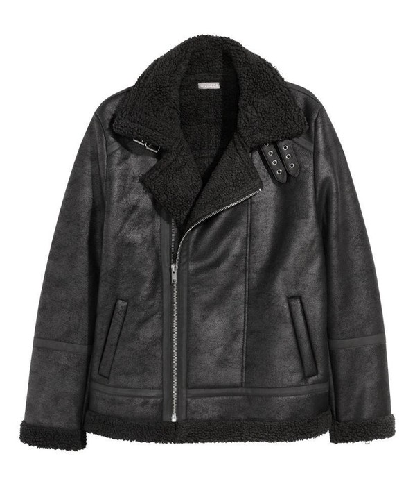63ebf7a0d151 H&M Divided mens faux shearling black jacket Size s - Heavy Coats ...