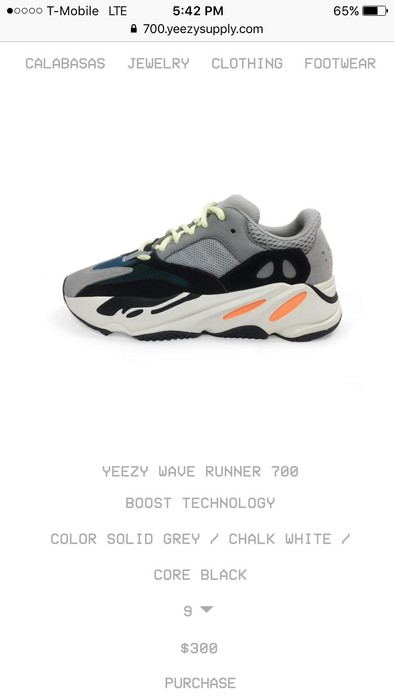 98099f4f7c952 Yeezy Boost Adidas Yeezy Boost 700 Wave Runner Size 9 - Low-Top ...