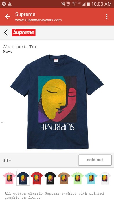 429fa6d09f3a Supreme Supreme Abstract Tee Navy Blue. Size l - Short Sleeve T ...