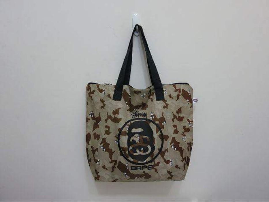 e9bf94c3cdc Bape Bape x Stussy LOGO Military Camo Tote Bag Shoulder Digital Desert  Brown - A Bathing