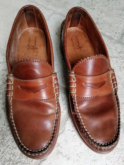 5b9b11ab8aa Rancourt   Co. Natural Shell Cordovan Beefroll Penny Loafer Size 9.5 ...