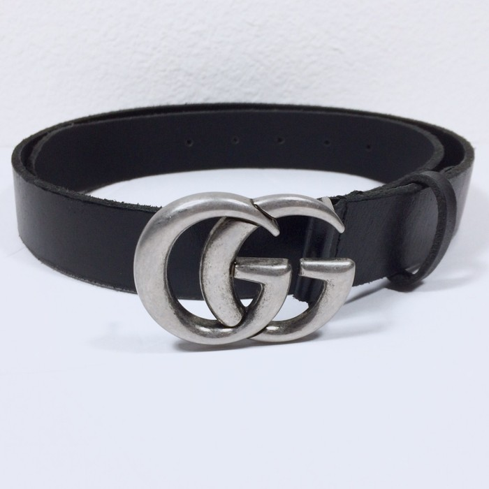 0b6268940af Gucci Black Leather Silver Tone GG Belt Size 34 - Belts for Sale ...