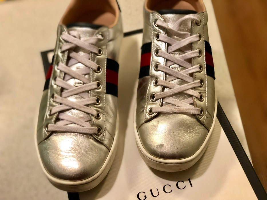 ca82f1be1bdd Gucci Ace Metallic Leather Low Top Sneaker Size 7 - Low-Top Sneakers ...