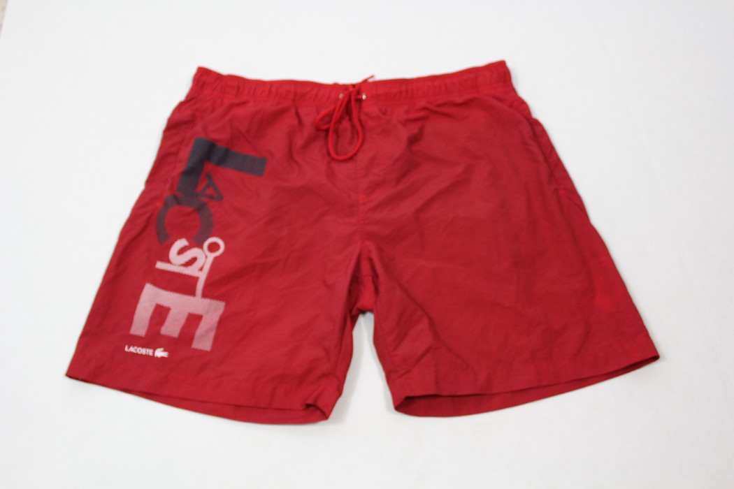 3d00be60460bb Lacoste LACOSTE Mens XL Spell Out Bathing Suit Trunks Swimwear Swimming  Shorts Red Size US 36
