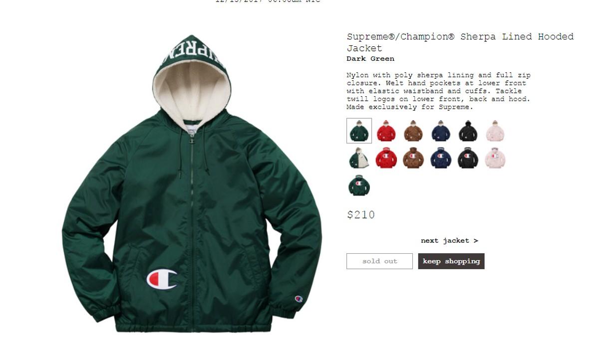 0bdf1f6998 Supreme Supreme Champion Sherpa Lined Hooded Jacket Dark Green Size US L    EU 52