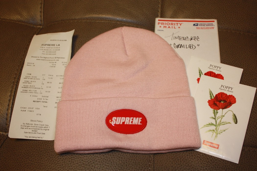 b7488413 Supreme Rubber Patch Beanie (PINK) Size one size - Hats for Sale ...