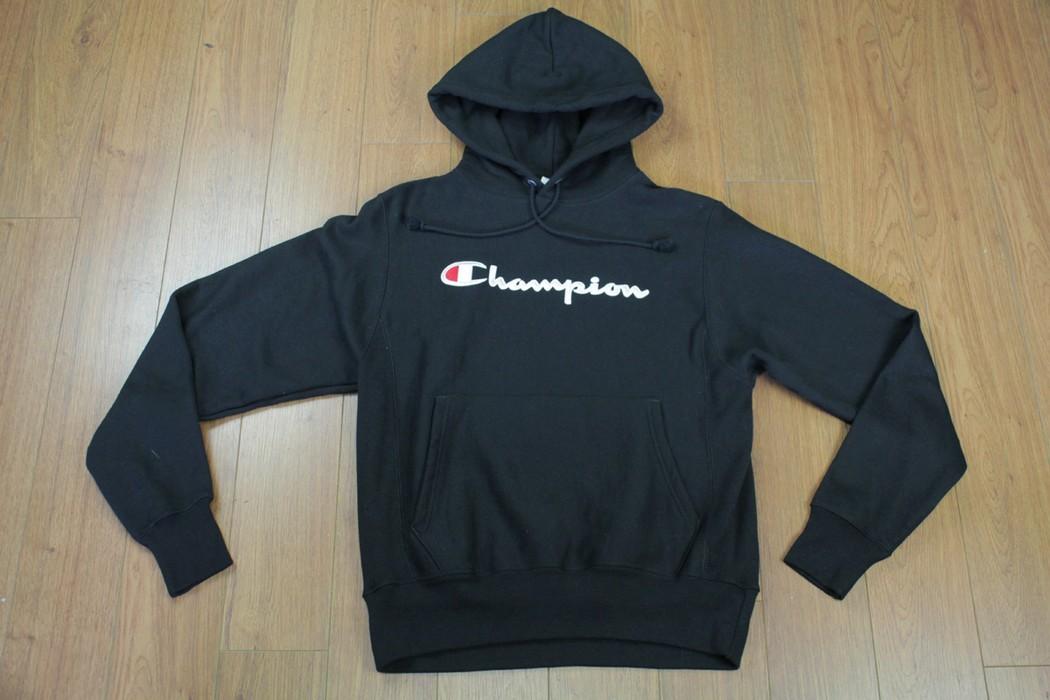 1a61d9db0bbc Champion Vintage 90s Era Champion Classic Logo Spellout Reverse Weave  Hoodie Sweater Sweatshirt Black Size Small