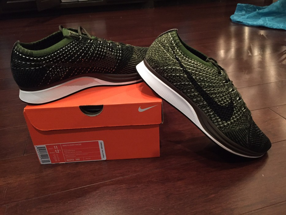 df7837a54e31 Nike Nike Flyknit Racer Rough Green  Black Size 11 - Low-Top ...