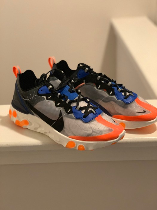 74f7cbad38bb Nike Nike React Element 87 Total Orange Black Thunder Blue White AQ1090-004  Size 8.5