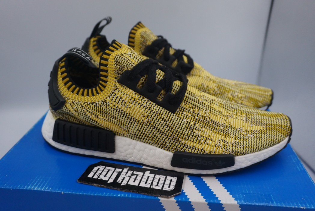986dff6ace3a3 Adidas. Adidas NMD R1 PK Premeknit Yellow Gold Camo SAMPLE S42131. Size  US  9   EU 42