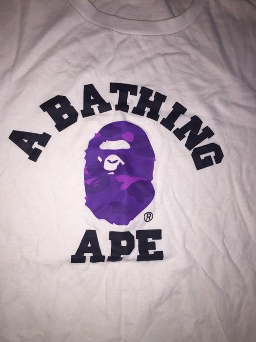 af5656dc Bape. Bape A Bathing Ape Purple Camo Logo White Tee. Size: US XL / EU 56 ...