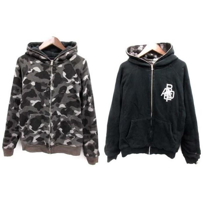 eacc002c6b62 Bape. Hoodie Black x Gray camouflage reversible zip up. Size  US M   EU 48-50  ...