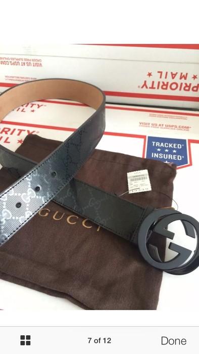 ebdebac393f Gucci NWT Authentic Gucci Men s Black GG Imprimé Shiny Belt Size 32 - 10