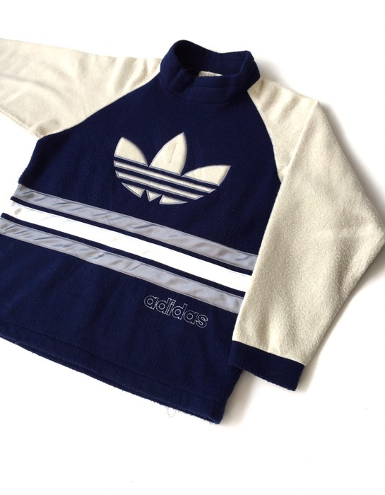 0247c8ba2cf Adidas Vintage Adidas Descente Fleece Big Logo Stripe Blue Black 22x26 Size  US L   EU