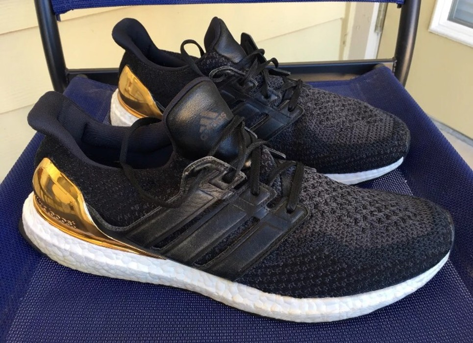f3a2797be6c2 Adidas RAREE Ultra Boost 2.0 Gold Medal 12 Black Leather Size 12 ...