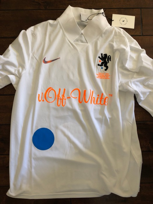 687ed487 Nike Off White X Home Mens Soccer Jersey Size L Long Sleeve T. Off White X  Nike 18ss Fb Jersey Homme Aa3300 100 ...