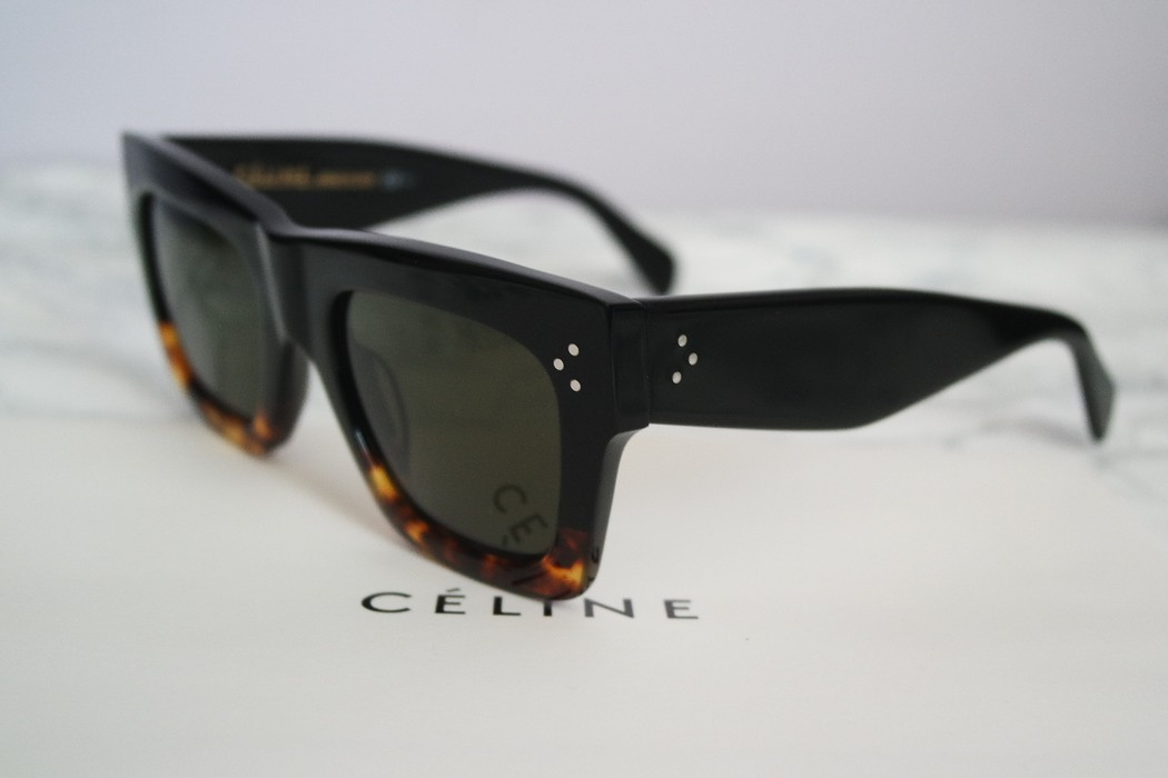 de41c8d9da74e Celine NEW Celine 41054 Black Havana Oversized Flat Top Sunglasses Size ONE  SIZE - 5