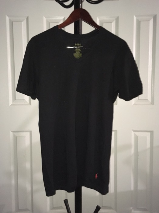 4b4ee78a4 Polo Ralph Lauren Black Classic Fit V-neck T-shirt w/ Red Logo Size ...