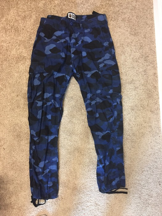 45e0980d2745 Bape Bape A Bathing Ape Navy Blue Camo Cargo Pants Size 32 - Casual ...