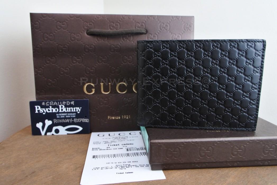 f8b1fcb97bc Gucci Gucci Mens Black Gucci Micro Guccissima Bi-Fold Wallet Long ...
