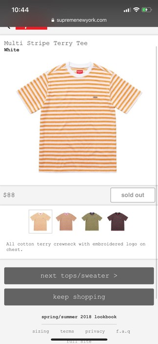 56b10084a5 Supreme Multi Stripe Terry Tee Size xl - Short Sleeve T-Shirts for ...