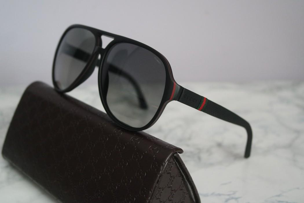 0281f82a075 Gucci NEW Gucci 1065 S Matte Black Polarized Aviator Sunglasses Size ...
