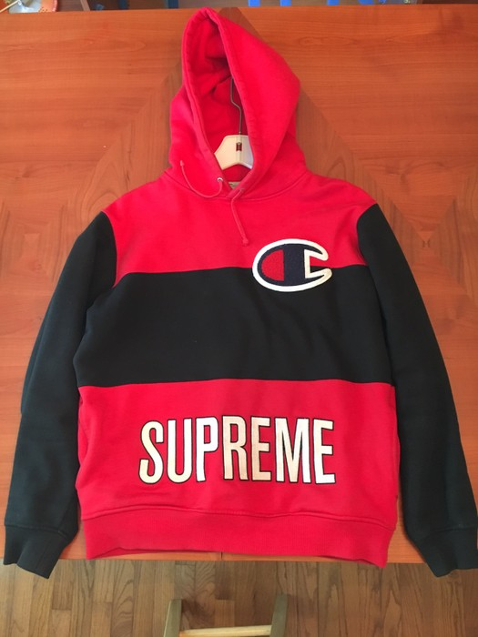 7bfb2f915834 Supreme Supreme x Champion SS14 Hoodie Pullover Red Black Size US M   EU 48