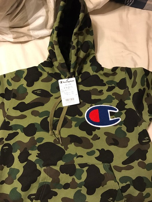5dad4fe122fb Bape Bape X Champion Camo Hoodie Size m - Sweatshirts   Hoodies for ...