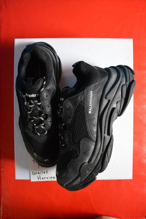 9ad485d35c9 Balenciaga Distressed Black Triple S Sneaker (2017) Size US 13   EU 46
