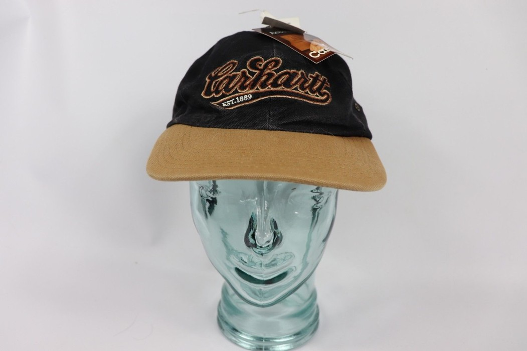 483cae01bf909 Vintage Vintage 90s New Carhartt Spell Out Leather Strapback Denim Work Hat  Cap Black USA Size