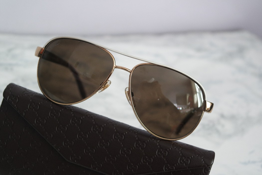 a45ba50e838 Gucci NEW Gucci GG 4239 S White Gold Polarized Aviator Sunglasses Size ONE  SIZE