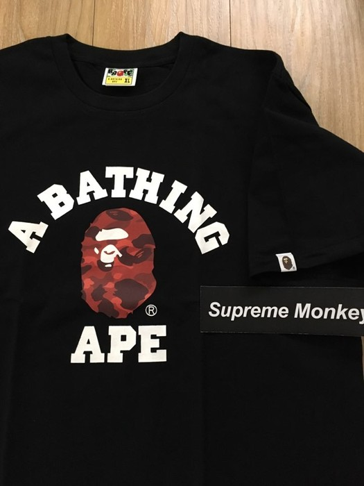 3dcee04491ca Bape Bape Red Camo College Tee Size xl - Short Sleeve T-Shirts for ...