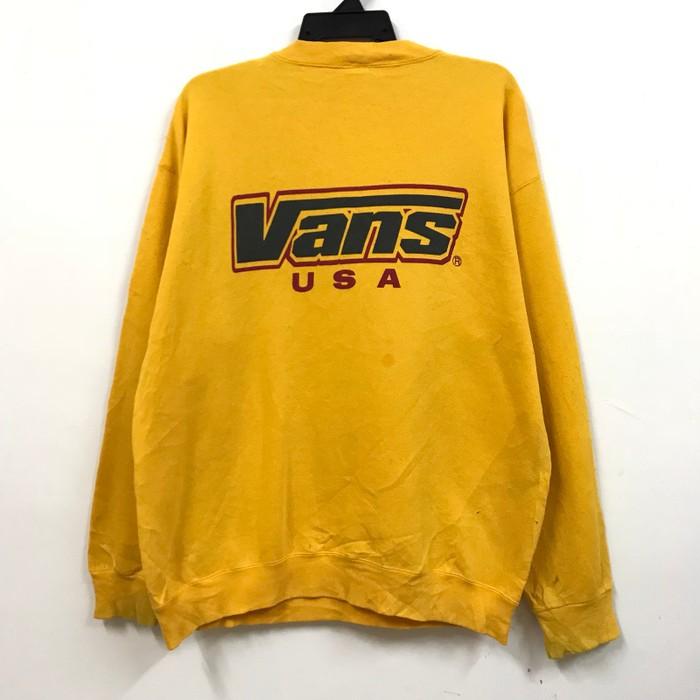 bb880e49a8 Vintage × Vans. Final Drop!! Vintage 90s Vans USA Big Logo Design Yellow  Sweatshirt Pullover. Size  US L   EU 52-54   3