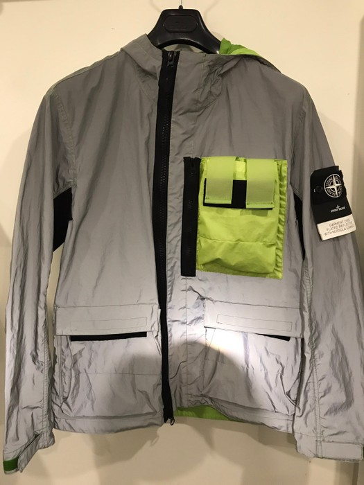 ac56b798ea2651 Stone Island Garment Dyed Plated Reflective With Mussola Gommata Jacket  Size US L   EU 52