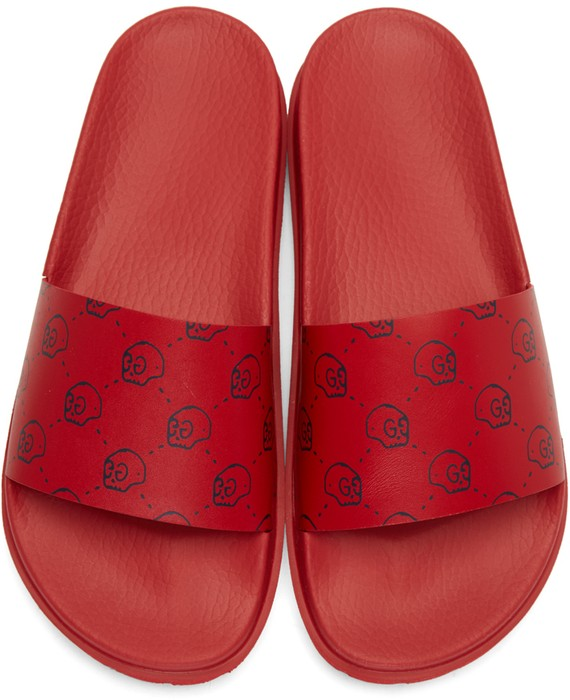 fa52202b20ee Gucci Gucci Ghost Slide Sandals in Red Skull Monogram Size 9.5 ...