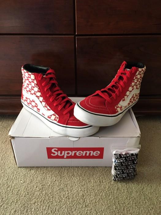 10104eaebc Supreme Vans X Supreme Sk8-HI  Red Checkers  Size 9.5 - Hi-Top ...