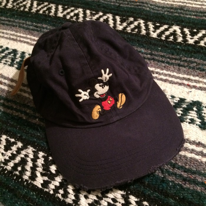 9fb54933bac7a Mickey Mouse Vintage Walt Disney World Mickey Mouse Leather Strapback Dad  Hat Distressed VTG Cap Embroidered