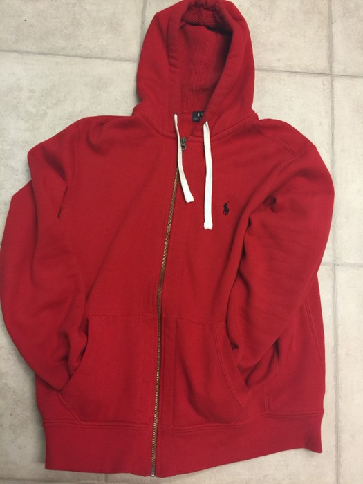 Polo Ralph Lauren Polo Ralph Lauren Zip Up Hoodie Red With Black