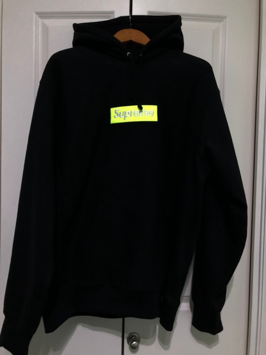 dda92feb7ecb Supreme. Supreme Box Logo Bogo Hoodie Sweatshirt FW17 Black Lime Yellow ...