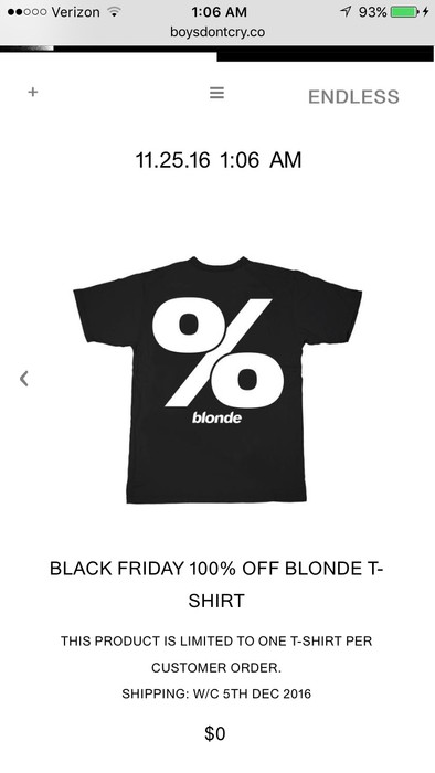 432c42a8 Frank Ocean Black Friday Blonde Tee Size m - Short Sleeve T-Shirts ...