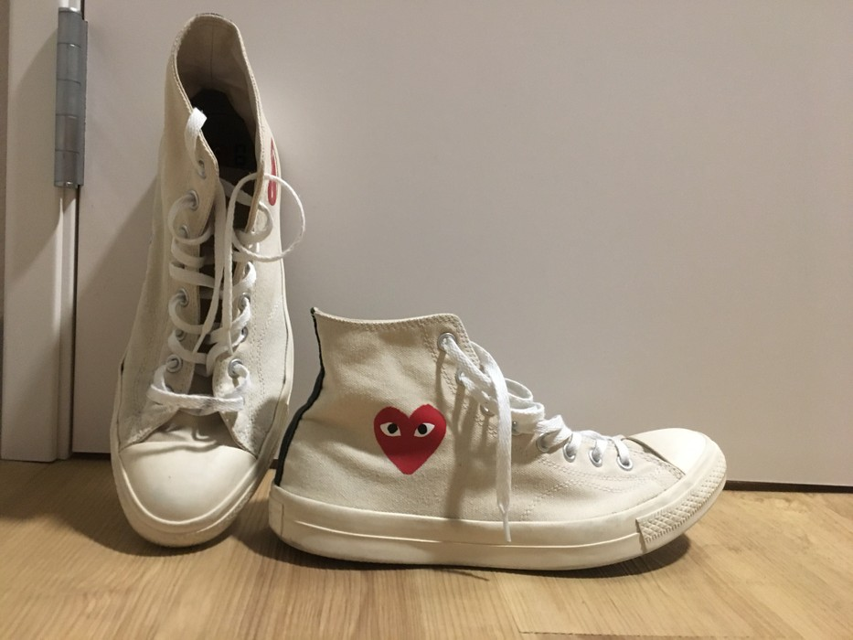 abe0c7c1c19cfb Converse OG Milk White Little Heart High Top Converse CDG Play Comme Des  Garcons Size US