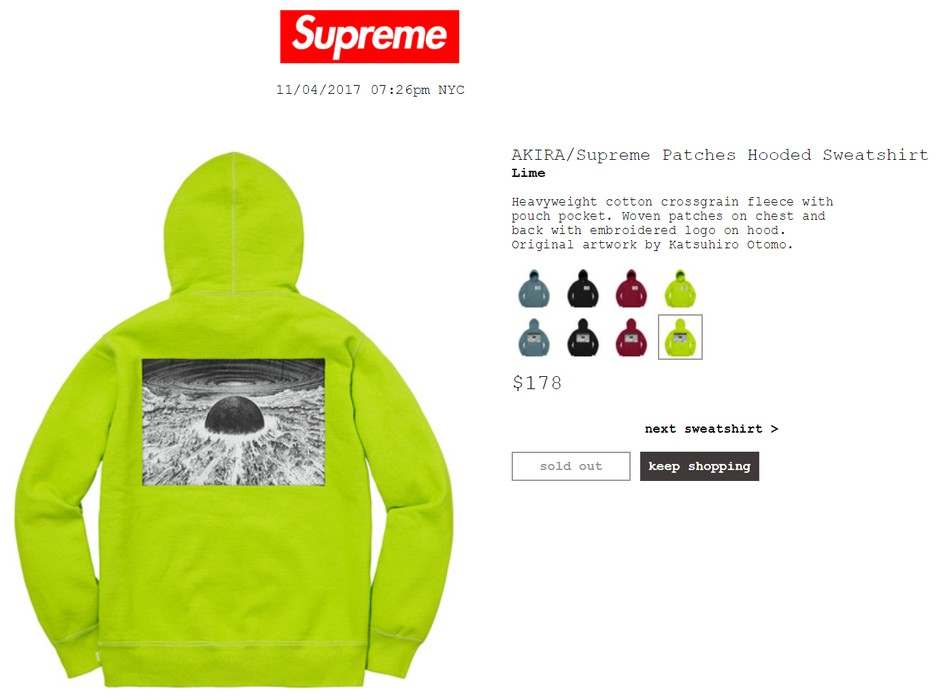 afc4366d1bda Supreme Supreme x Akira Patches Hooded Sweatshirt Hoodie Lime Size US L    EU 52-