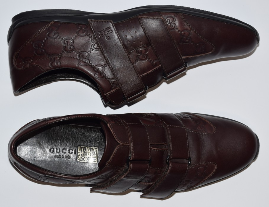 d772c374422 Gucci AUTHENTIC MEN S GUCCI LEATHER VELCRO SNEAKERS SHOES GUCCI SIZE 40 C  ACTUAL US 8