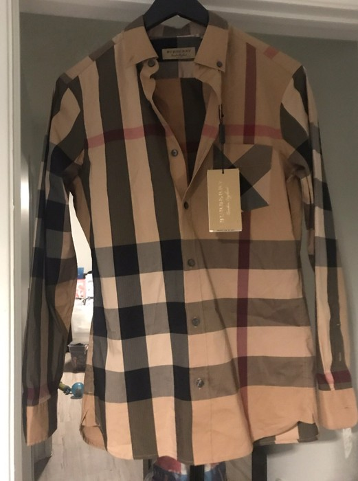 Men's Clothing New Burberry London Richard Slim Fit Plaid Sport Shirt Size S