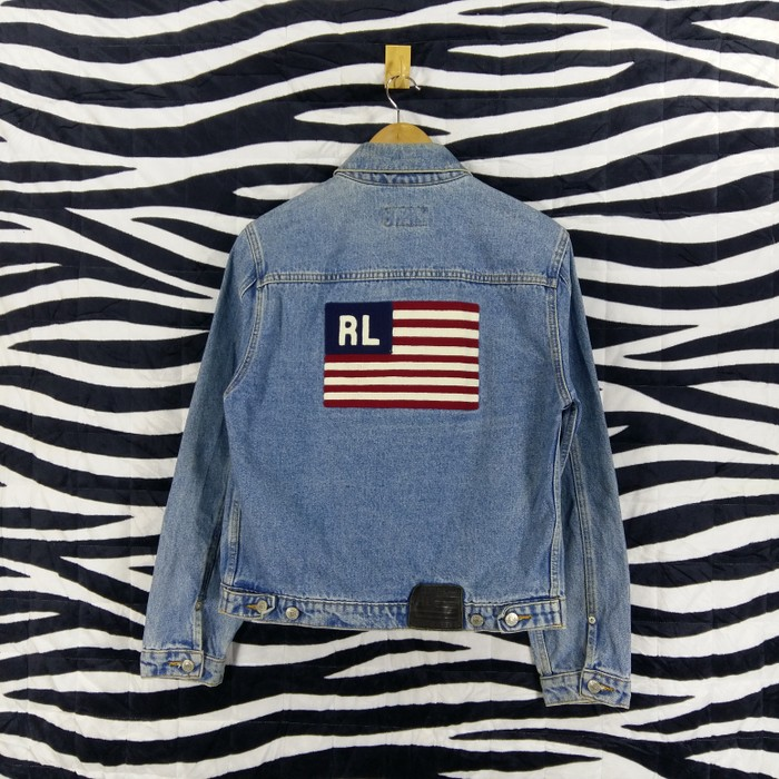 ac10f7b26 Polo Ralph Lauren Vintage POLO JEANS CO. RALPH LAUREN Classic Jacket Denim  Biglogo Flags Embroidered