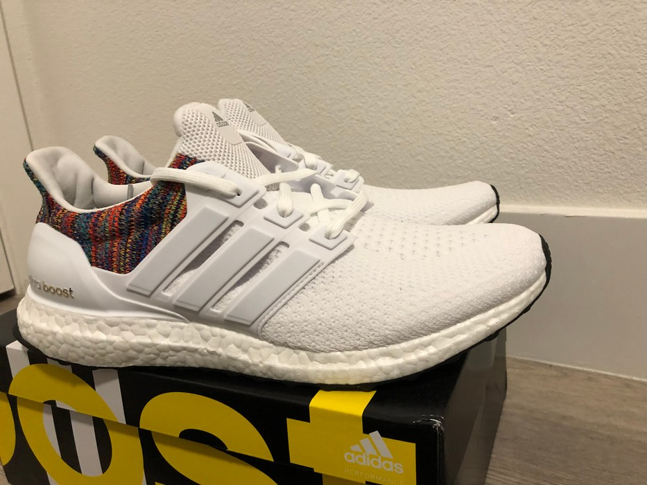 4f2de2f3364a9 Adidas Adidas MiAdidas Ultra Boost White RAINBOW LIMITED BY1756 - Size 10.5  Size US 10.5