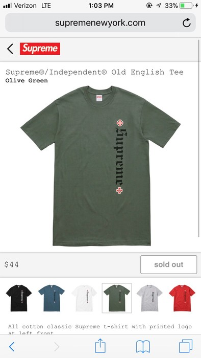 35f33f308b48 Supreme SUPREME INDEPENDENT OLD ENGLISH TEE OLIVE GREEN NEVER WORN Size US L    EU 52
